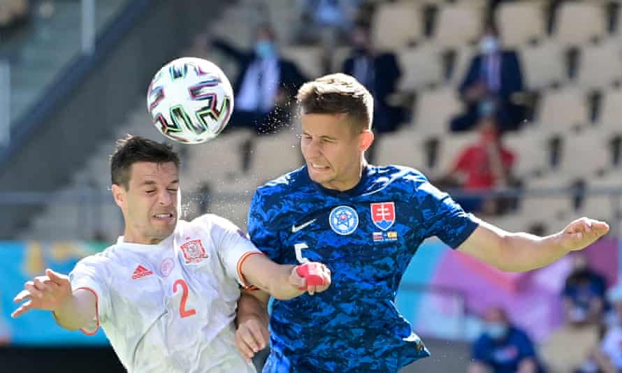 Cesar Azpilicueta (left) was another player recalled by Luis Enrique for the Slovakia game.