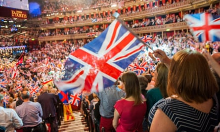 The audience at the Last Night of the Proms at the Royal Albert Hall, London, in 2014.