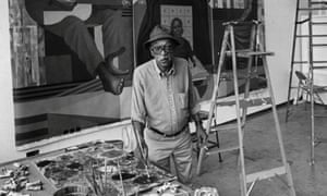 Charles White at Otis, working on Bethume Mural, Kent Twitchell seated