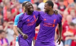 Liverpool's Georginio Wijnaldum and new signing Naby Keita.