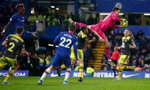 Alex McCarthy in the thick of the action during Southampton's win at Chelsea.