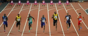 Justin Gatlin of the United States, Yohan Blake of Jamaica, Akani Simbine of South Africa, Christian Coleman of the United States, Usain Bolt of Jamaica, Jimmy Vicaut of France and Bingtian Su of China