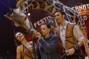 Monte-Carlo, Monaco Princesse Stephanie attracts the attention of a giraffe at the International Circus Festival in Monte-Carlo