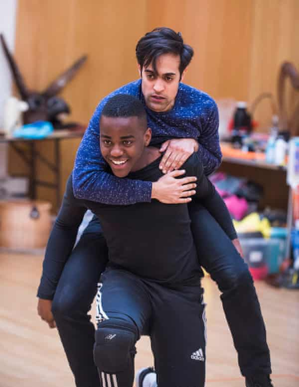 In the new production of A Midsummer Night's Dream, Demetrius (Ncuti Gatwa, front) will have a male love interest in Helenus (Ankur Bahl).
