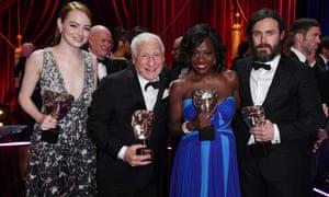 Emma Stone, Mel Brooks, Viola Davis and Casey Affleck with their Bafta awards.