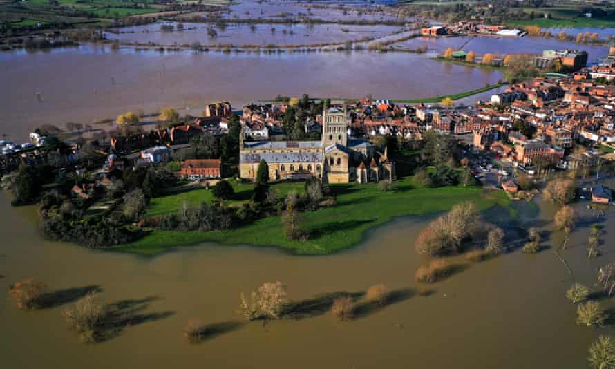 Tewkesbury Abbey, at the confluence of the Rivers Severn and Avon in Gloucestershire, is surrounded by flood waters in February