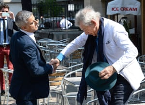 Britain's incoming London Mayor Sadiq Khan (L), is greeted by British actor Ian McKellen as he arrives for his swearing-in ceremony at Southwark Cathedral.