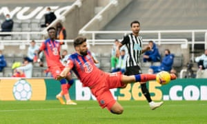 Chelsea's Olivier Giroud attempts a shot on goal.
