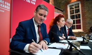 Sir Keir Starmer (left) at a Labour press conference during the general election, with Louise Haig and Jeremy Corbyn. A poll of members suggests he is favourite for next Labour leader.