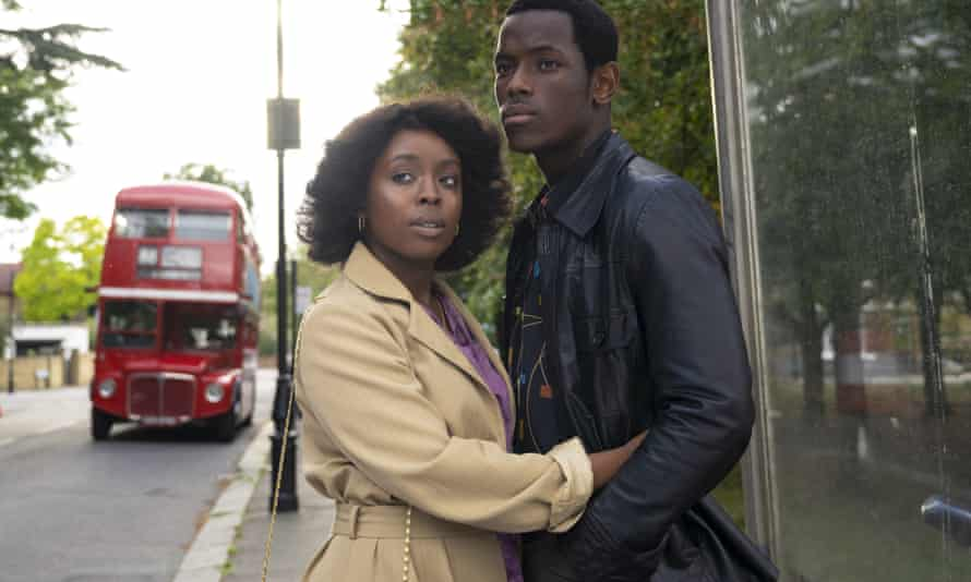 Amarah-Jae St Aubyn, left, and Micheal Ward in Lovers Rock, part of the Small Axe series of films directed by Steve McQueen.