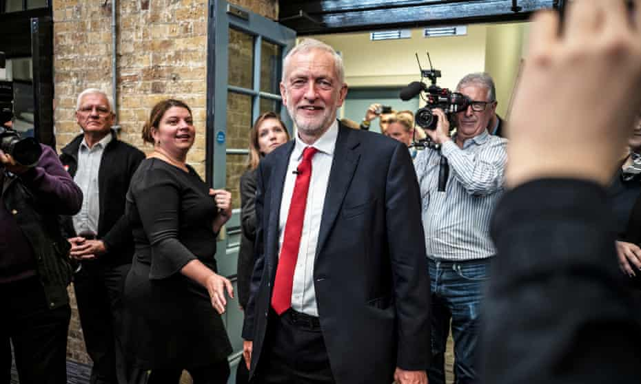 Jeremy Corbyn after launching Labour's European election manifesto in Chatham, Kent.