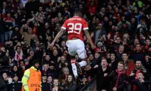 Marcus Rashford delights the Old Trafford crowd for the first time after scoring against Midtjylland on his Manchester United debut on 25 February 2016