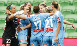 Melbourne City players celebrate after winning the 2020 W-League Grand Final.