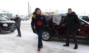 'Trudeau has that aura': Justin Trudeau arrives in Iqaluit, Nunavut, on Thursday.