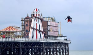 Richard Browning flies a body-controlled jet engine-powered suit in Brighton, UK