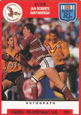 Roberts' 1991 Stimorol trading card, during his time with the Manly Sea Eagles.