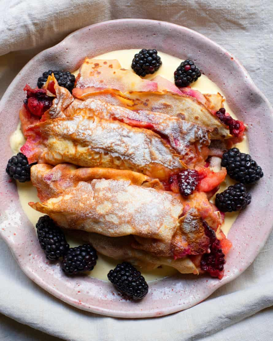 'You may have a little filling left over for breakfast, which is a good thing': blackberry and apple pancakes.