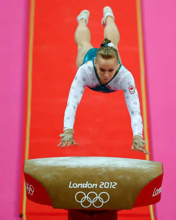 Elsabeth Black of Canada competes in the women's gymnastics vault final at the London 2012 Olympic Games.