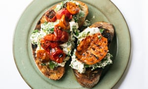 Rasie a toast: bruschetta, tomatoes and herb cheese.