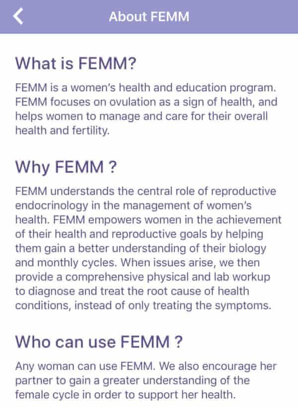 Screenshot from the Femm fertility app