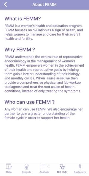 A screenshot of the Femm fertility app.