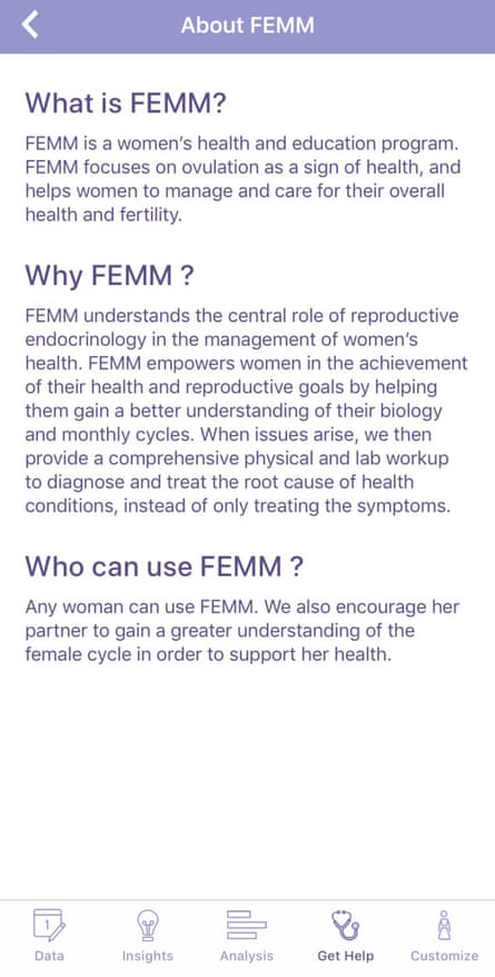 A screenshot of the Femm fertility app.