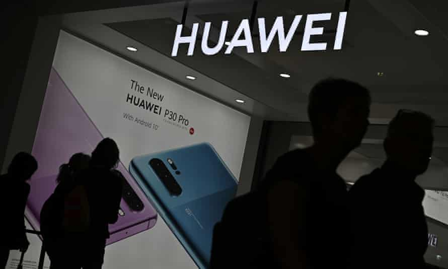 Huawei promoting one of its smartphones at an electronics and innovation fair in Berlin.
