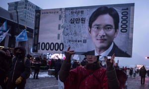 A protestor outside the trial of Lee Jae-yong. Many publications have come out in favour of the company.