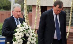 Dominic Asquith (right), the British high commissioner to India, laying a wreath to pay tribute to the victims of the Amritsar massacre