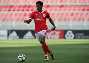 English forward Chris Willock playing at the Caixa Futebol Campus for Benfica's B team against Varzim SC in the LigaPro.