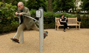 A man works out in London's first purpose-built 'senior playground' in Hyde Park