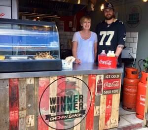 Jayne Shepherd and son Michael at Chicken Shack