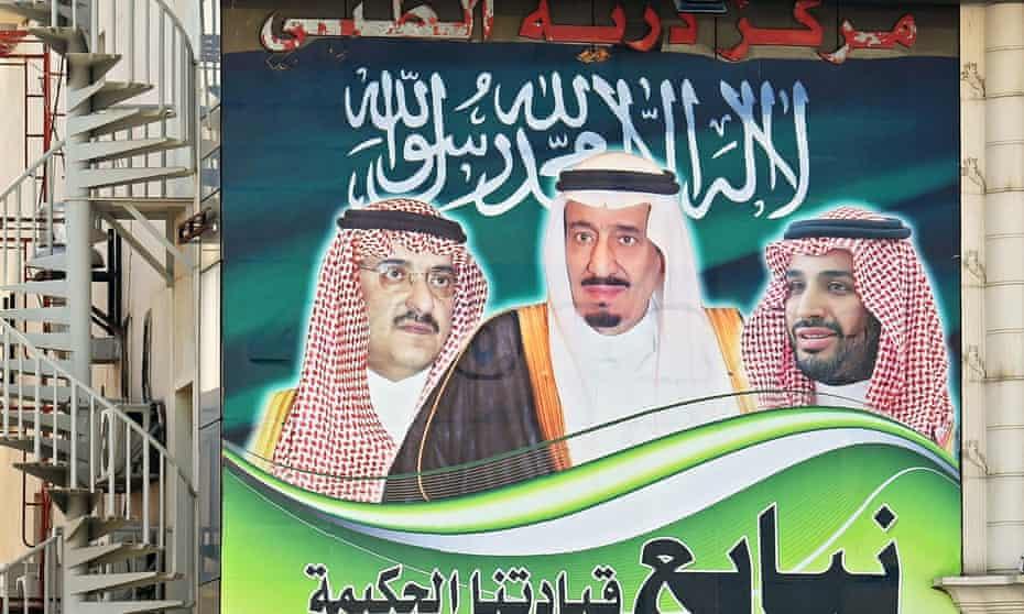 A giant poster in Riyadh depicts King Salman bin Abdulaziz, centre, Crown Prince Mohammed bin Nayef, left, and Deputy Crown Prince Mohammed bin Salman.
