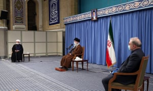 Iranian Supreme leader Ali Khamenei attends a meeting to discuss the coronavirus pandemic on Saturday.