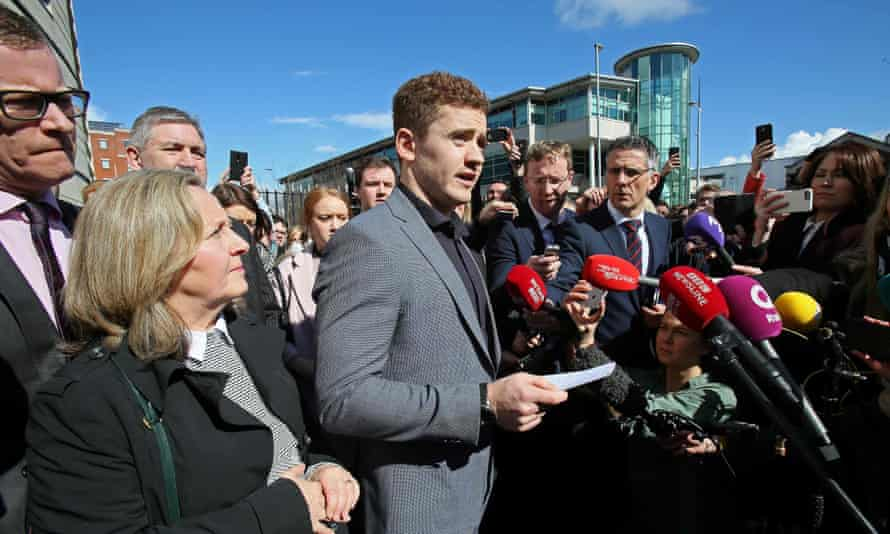 Irish rugby player Paddy Jackson speaks to members of the press after being found not guilty of rape charges.
