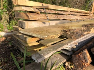 Oak planks stacked for seasoning outdoors at North Eggardon sawmill