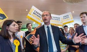 Lib Dem leader Tim Farron campaigning in Kingston upon Thames.