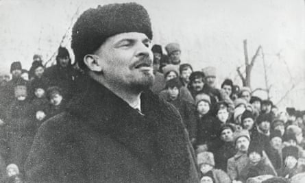 Lenin addressing a crowd of people at a rally in Moscow, 1917.