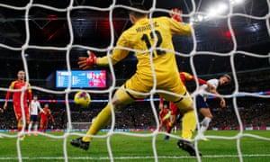 England's Harry Kane scores their third goal.