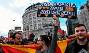 Protesters in Skopje on Sunday