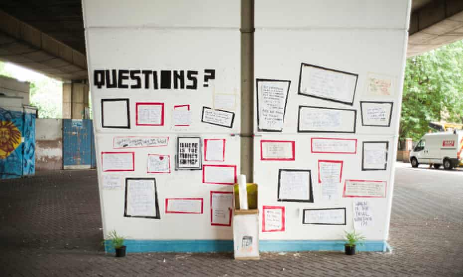 A wall of questions near the Grenfell Tower.
