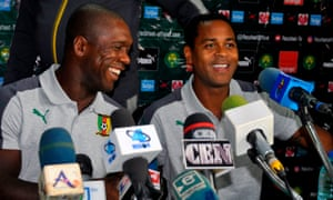 Clarence Seedorf and his assistant, Patrick Kluivert, are unveiled as Cameroon's new management team in August.