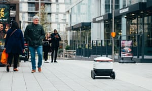 A Starship robot in Milton Keynes, seen before the government's new guidance on social distancing.