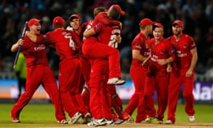 Lancashire celebrate beating Northamptonshire in the NatWest T20 Blast final