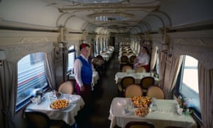 A dining car on the first tourist train to pass through Russia's Arctic regions to Norway, as it prepares to leave for an 11 day trip with 91 passengers on board.