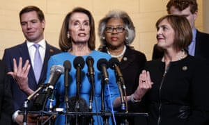 Nancy Pelosi, center, has named Kathy Castor, right, to lead a special House of Representatives committee on climate change.