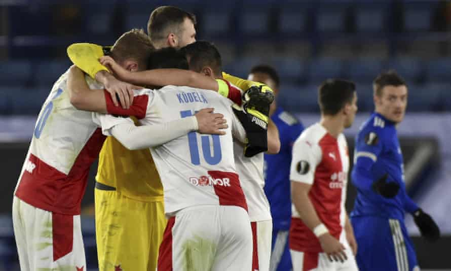 Slavia Prague players celebrate their 2-0 win at Leicester.