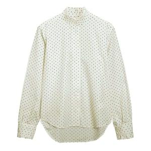 ruffled collar polka dot shirt white and black