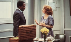Robert Guillaume as Benson with Katherine Helmond as his boss, Jessica Tate, in an episode of Soap.
