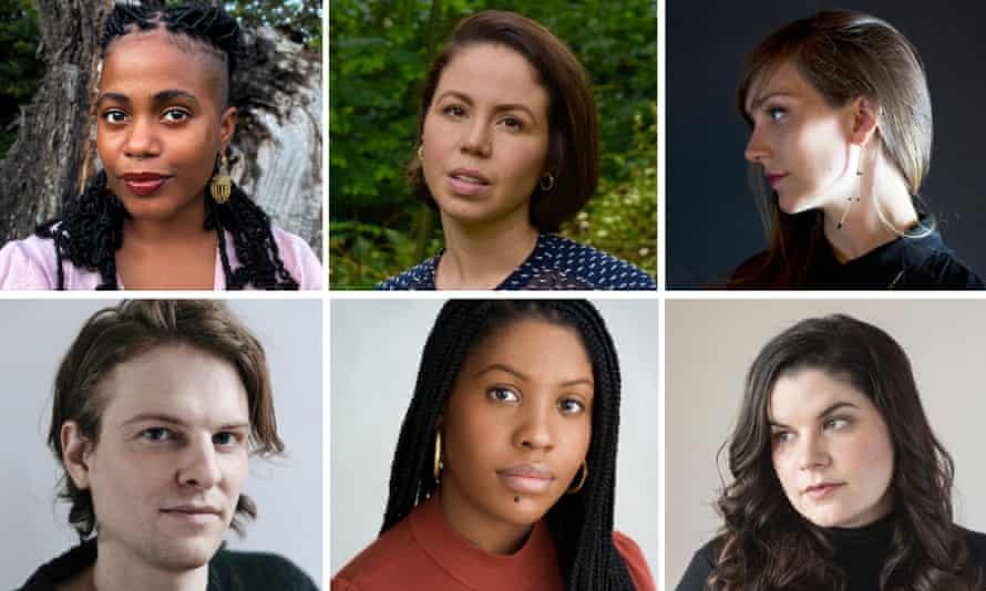 Dylan Thomas prize shortlist of authors: top L-R Akwaeke Emezi, Dima Alzayat, Catherine Lacey. Bottom L-R Rye Curtis, Raven Leilani, Kate Elizabeth Russell.